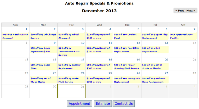 Auto repair promotion calendar example