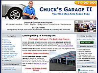 Chucks Garage Lansing automotive website design example