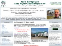 Joe's Garage Inc. Southmpton NY auto repair website example