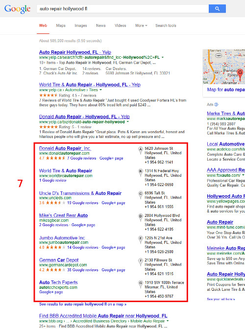Google 7-pack for auto repair local search seo