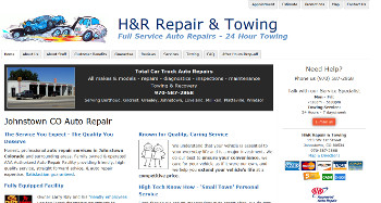 H&R Repair shop website design example